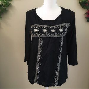 Lucky Brand Floral Embroidered Blouse S